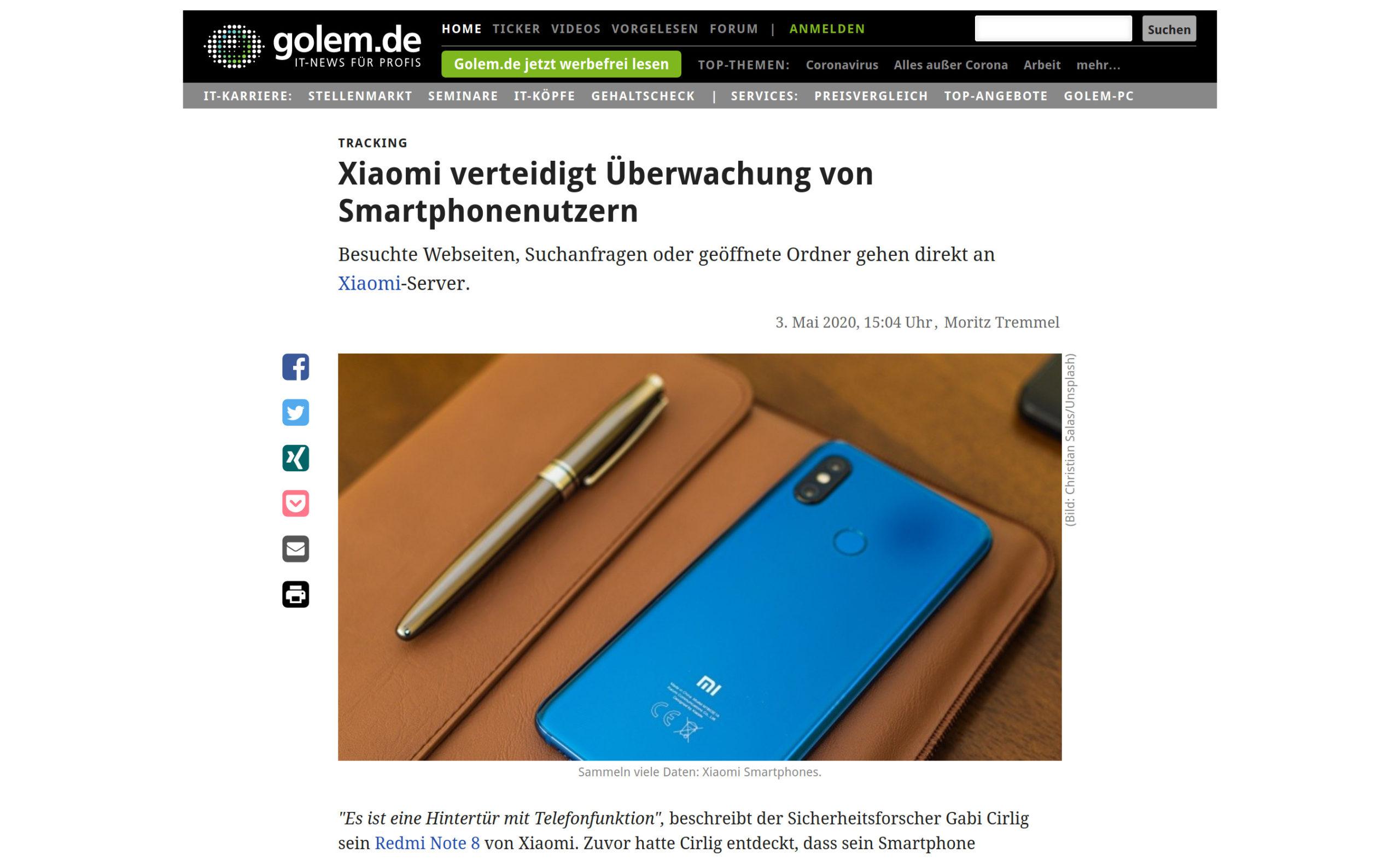 Xiaomi Überwachung Handy